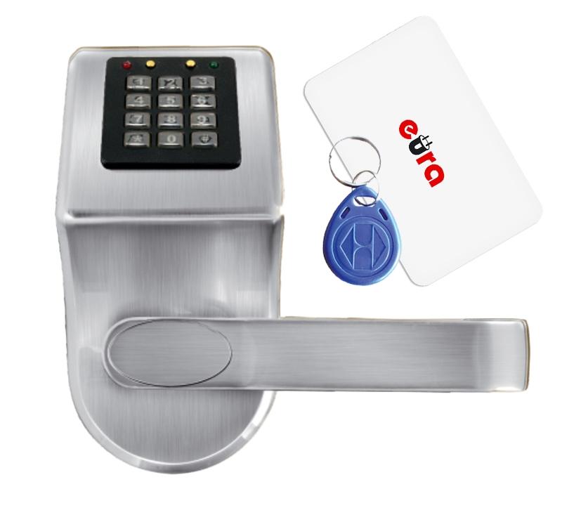 Elektroninė durų spyna su RFID kortelių skaitytuvu ir kodiniu užraktu ELH-70B9 / sidabrinė (valdymo dalis)