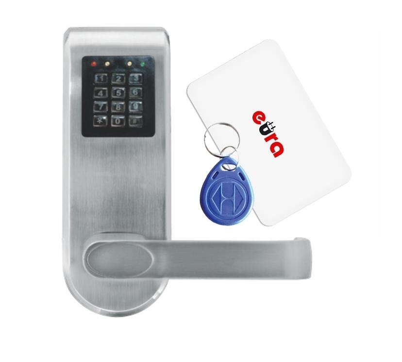 Elektroninė durų spyna su RFID kortelių skaitytuvu ir kodiniu užraktu ELH-72B9 / sidabrinė (valdymo dalis)