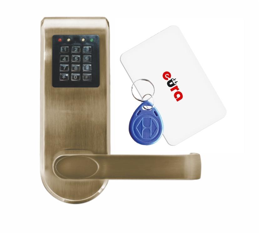 Elektroninė durų spyna su RFID kortelių skaitytuvu ir kodiniu užraktu ELH-72B9 / ruda (valdymo dalis)