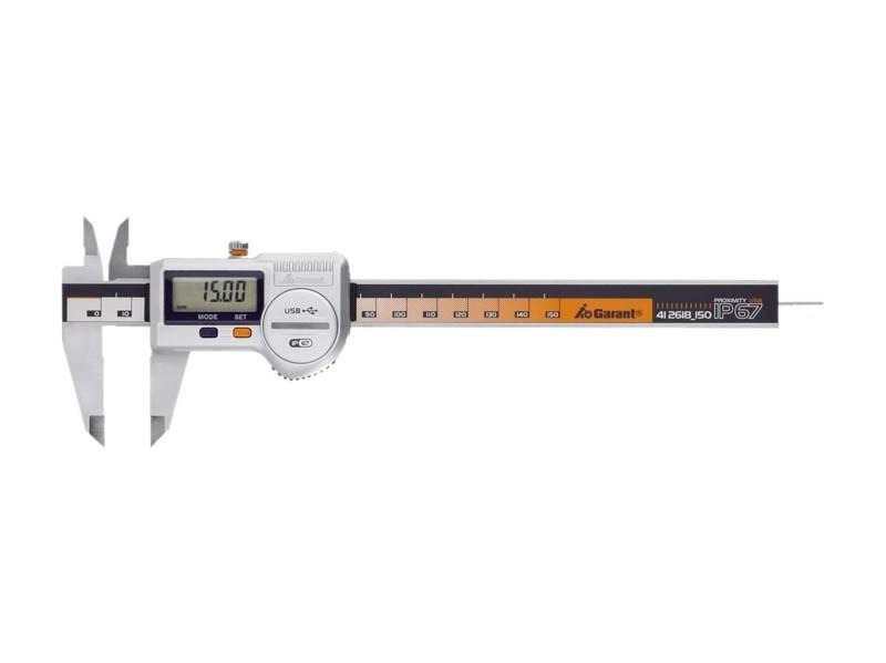 Skaitmeninis slankmatis 150 mm su apvaliu gylio matuokliu ir duomenų įrašymu Garant